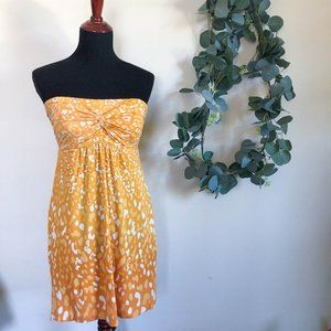 soma | strapless yellow cheetah leopard dress sm